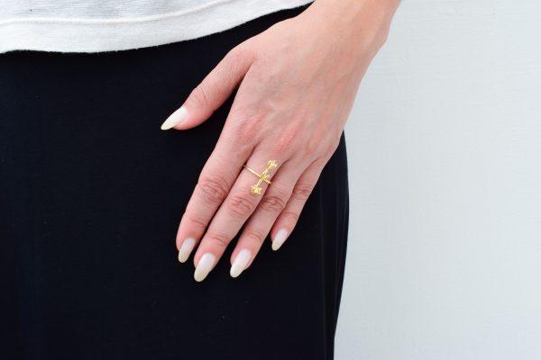 anel lavanda dourado