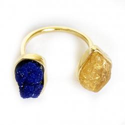 anel due topázio imperial e azurita