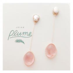 brinco-pérola-quartzo-rosa-plume-acessórios