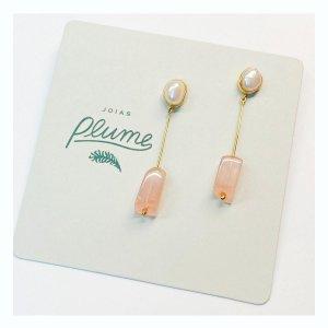 brinco-pérola-quartzo-rosa-geométrico-plume-acessórios