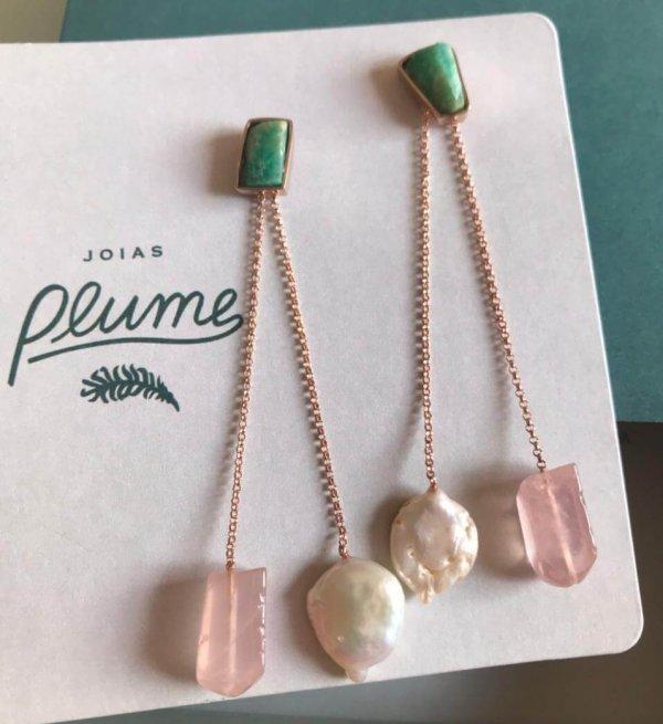 brinco-amazonita-pérola-barroca-quartzo-rosa-plume-acessórios